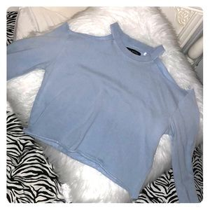 Blue off the shoulder sweatshirt